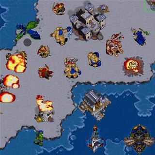 Orcs destroying a human settlement.