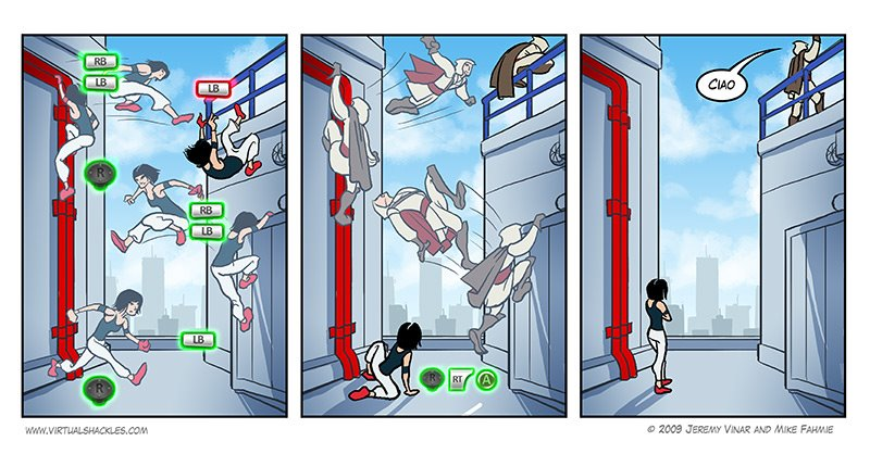 Virtual Shackles comic comparing Assassin's Creed controls and Mirror's Edge controls