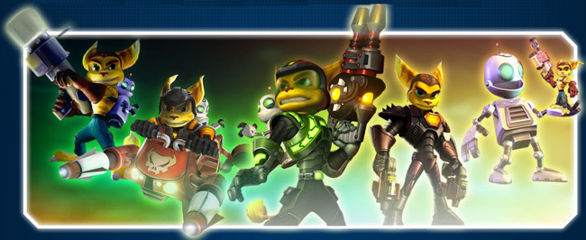 Ratchet as seen in each of the first five Ratchet & Clank games