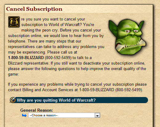 WoW Cancel Subscription page