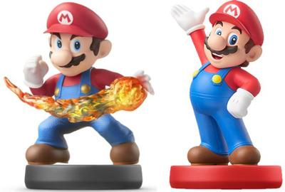 Smash Bros and Mario Party 10 versions of Mario Amiibo