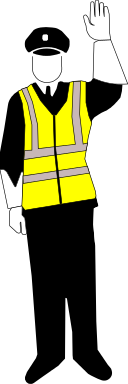 A police officer signaling for a stop