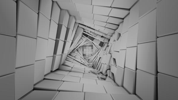 A twisted hallway.