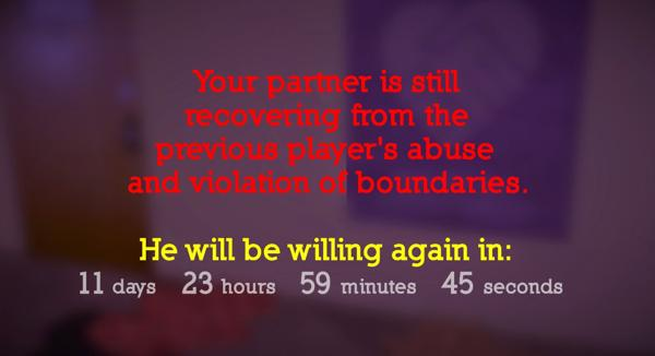 Your partner is still recovering from the previous player's abuse and violation of boundaries.