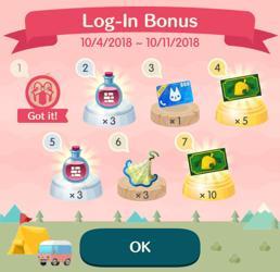 Log-In Bonus schedule for Animal Crossing Pocket Camp