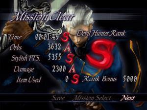 Results screen for Devil May Cry 3