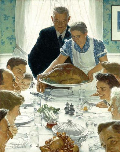 A painting of a 1940s American family around a dinner table apparently about to enjoy a Thanksgiving feast.