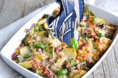 Casserole with a shoe sticking out of it
