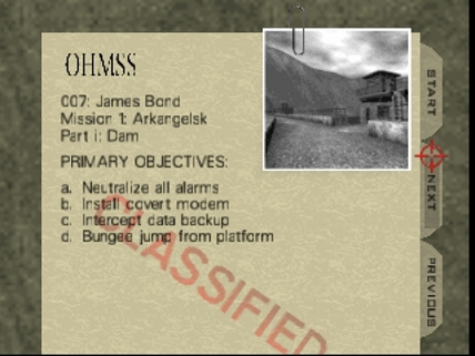 Mission briefing screen from GoldenEye 007, with typewritten text and a photograph clipped to a manila folder.