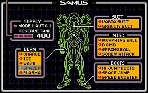 Equipment screen from Super Metroid, listing equipment on a diagram of Samus.