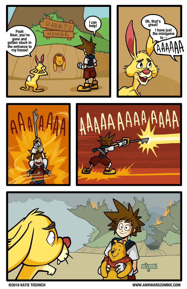 Awkward Zombie comic about Sora getting Winnie the Pooh out of Rabbit's house by destroying the house instead of playing Rabbit's minigame.