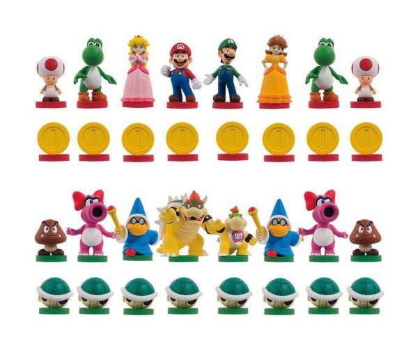 Image of Super Mario chess set pieces described below.